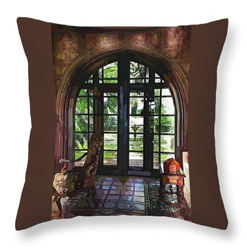 Watercolor View To The Past Throw Pillow