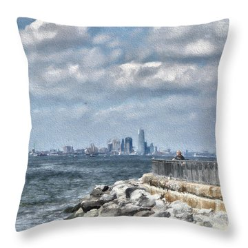 Throw Pillow featuring the digital art Watercolor Views by Terry Cork