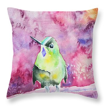 Watercolor - Violet-tailed Sylph Throw Pillow