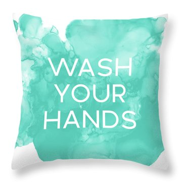 Watercolor Wash Your Hands- Art By Linda Woods Throw Pillow
