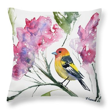 Watercolor - Western Tanager In A Flowering Tree Throw Pillow