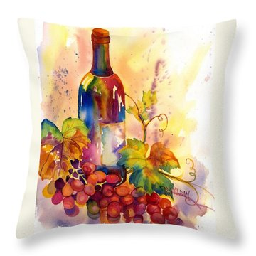 Watercolor Wine Throw Pillow by Peggy Wilson