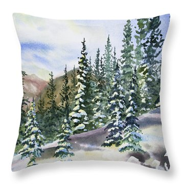 Throw Pillow featuring the painting Watercolor - Winter Snow-covered Landscape by Cascade Colors