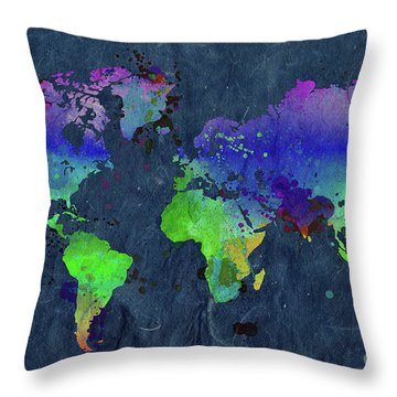 Watercolor World Map Blue Throw Pillow