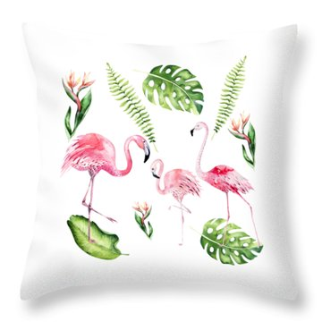 Throw Pillow featuring the painting Watercolour Flamingo Family by Georgeta Blanaru