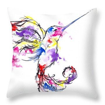 Watercolour Hummingbird Throw Pillow