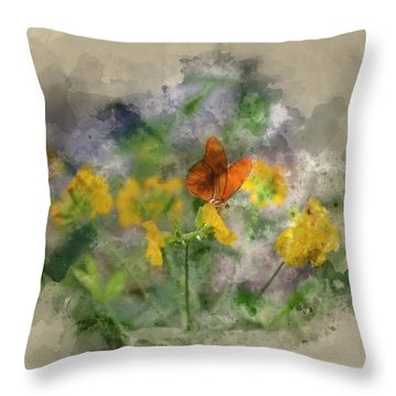 Watercolour Painting Of Julia Butterfly Lepidoptra Nymphalidae B Throw Pillow