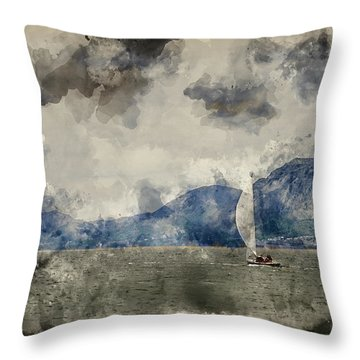 Watercolour Painting Of Small Sailing Boat On Menai Straits In Anglesey Wales. Throw Pillow