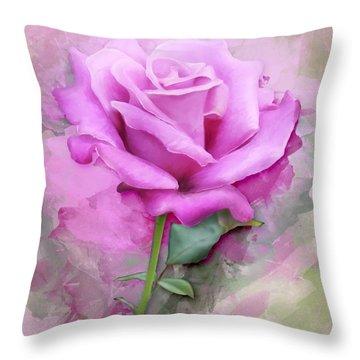 Watercolour Pastel Lilac Rose Throw Pillow