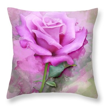 Watercolour Pastel Lilac Rose Throw Pillow