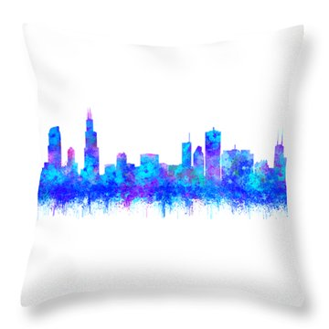Throw Pillow featuring the painting Watercolour Splashes And Dripping Effect Chicago Skyline by Georgeta Blanaru
