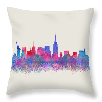 Throw Pillow featuring the digital art Watercolour Splashes New York City Skylines by Georgeta Blanaru