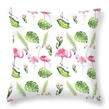 Throw Pillow featuring the painting Watercolour Tropical Beauty Flamingo Family by Georgeta Blanaru