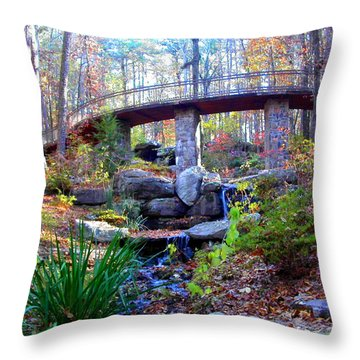 Waterfall And A Bridge In The Fall Throw Pillow