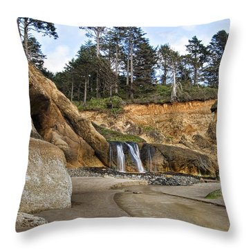 Waterfall At Hug Point State Park Oregon Throw Pillow