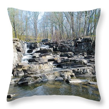 Throw Pillow featuring the photograph Waterfall At Wickecheoke Creek by Bill Cannon