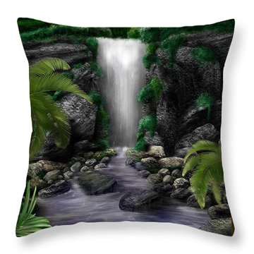 Throw Pillow featuring the digital art Waterfall Creek by Mark Taylor