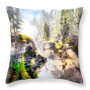 Throw Pillow featuring the painting Waterfall by Elizabeth Coats