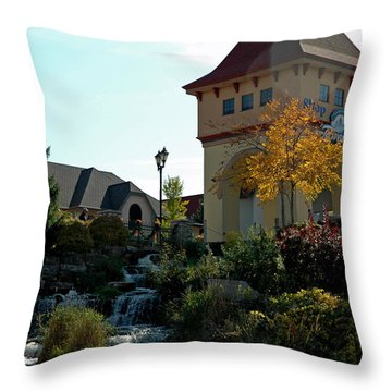 Throw Pillow featuring the photograph Waterfall Frankenmuth Mich by LeeAnn McLaneGoetz McLaneGoetzStudioLLCcom