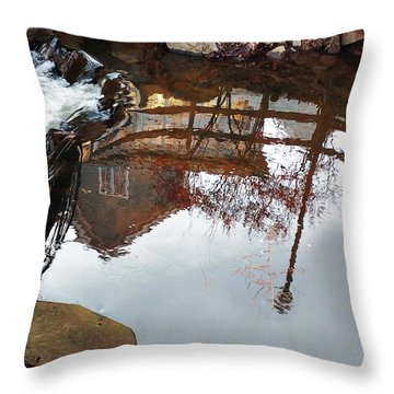 Waterfall From Calm Waters Throw Pillow