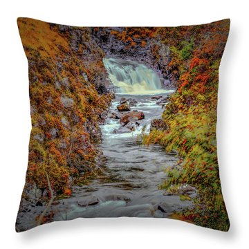 Throw Pillow featuring the photograph Waterfall #g8 by Leif Sohlman