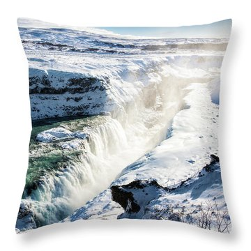 Throw Pillow featuring the photograph Waterfall Gullfoss Iceland In Winter by Matthias Hauser