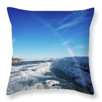 Throw Pillow featuring the photograph Waterfall Gullfoss In Winter Iceland Europe by Matthias Hauser