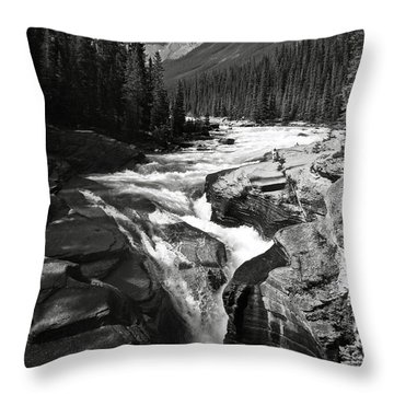 Waterfall In Banff National Park Bw Throw Pillow by RicardMN Photography