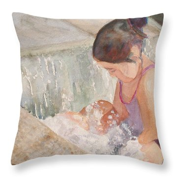Waterfall In Her Lap Throw Pillow by Jenny Armitage
