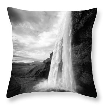 Throw Pillow featuring the photograph Waterfall In Iceland Black And White by Matthias Hauser