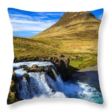 Waterfall In Iceland Kirkjufellfoss Throw Pillow