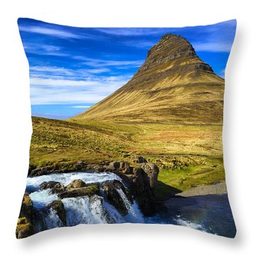 Waterfall In Iceland Kirkjufellfoss Throw Pillow