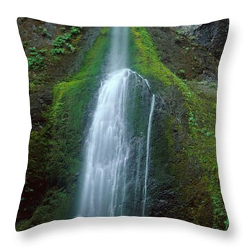 Waterfall In Olympic National Rainforest Throw Pillow