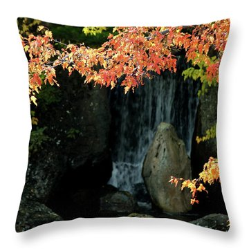 Waterfall In The Garden Throw Pillow