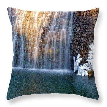 Waterfall In Winter Throw Pillow