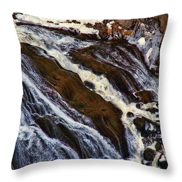 Waterfall In Yellowstone Throw Pillow