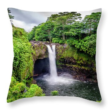 Waterfall Into The Valley Throw Pillow