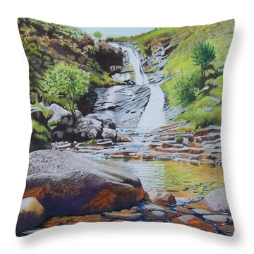 Waterfall On Skye 2 Throw Pillow