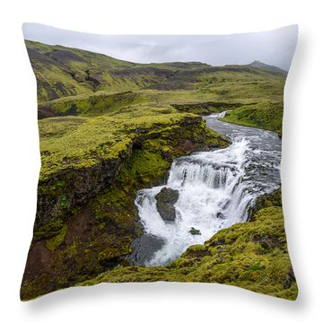 Waterfall On The Fimmvorduhals Trail Throw Pillow