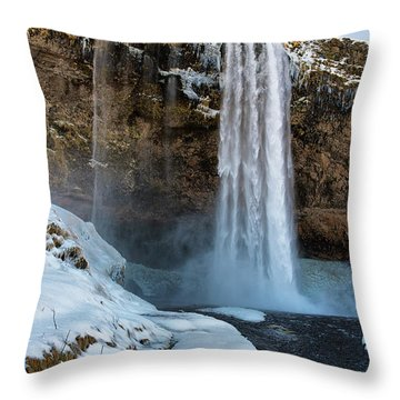 Throw Pillow featuring the photograph Waterfall Seljalandsfoss Iceland In Winter by Matthias Hauser