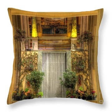 Waterfall View And Hues Throw Pillow