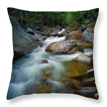 Waterfalls And Rocks On Abol Stream Throw Pillow