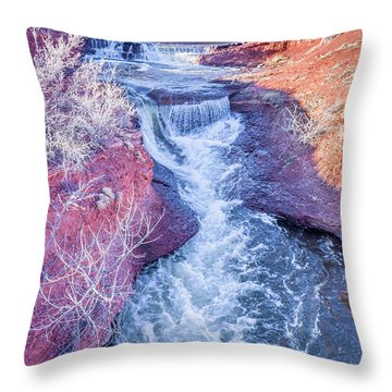 waterfalls at Colorado foothills aerial view Throw Pillow