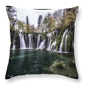 Waterfalls In Croatia Throw Pillow
