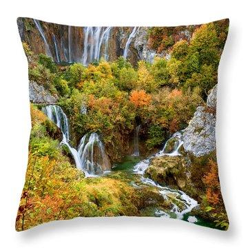 Waterfalls In Plitvice Lakes National Park Throw Pillow