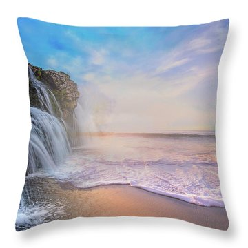 Waterfalls Into The Ocean Throw Pillow
