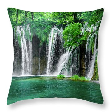 Waterfalls Panorama - Plitvice Lakes National Park Croatia Throw Pillow