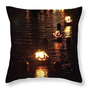 Waterfire Lights Throw Pillow