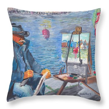 Waterfront Artist Throw Pillow by Quwatha Valentine