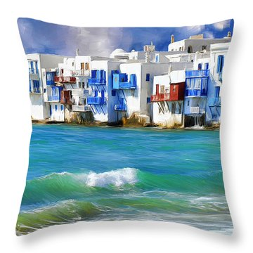 Waterfront At Mykonos Throw Pillow by Dominic Piperata